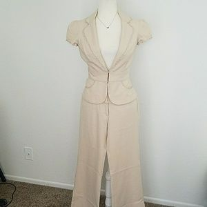 Jackets & Blazers - Lace Trim Khaki Summer Suit Set